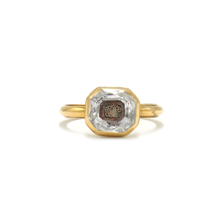 Antique Yellow Gold Stuart Crystal Monogram Ring Style R-24468-FL-0-0