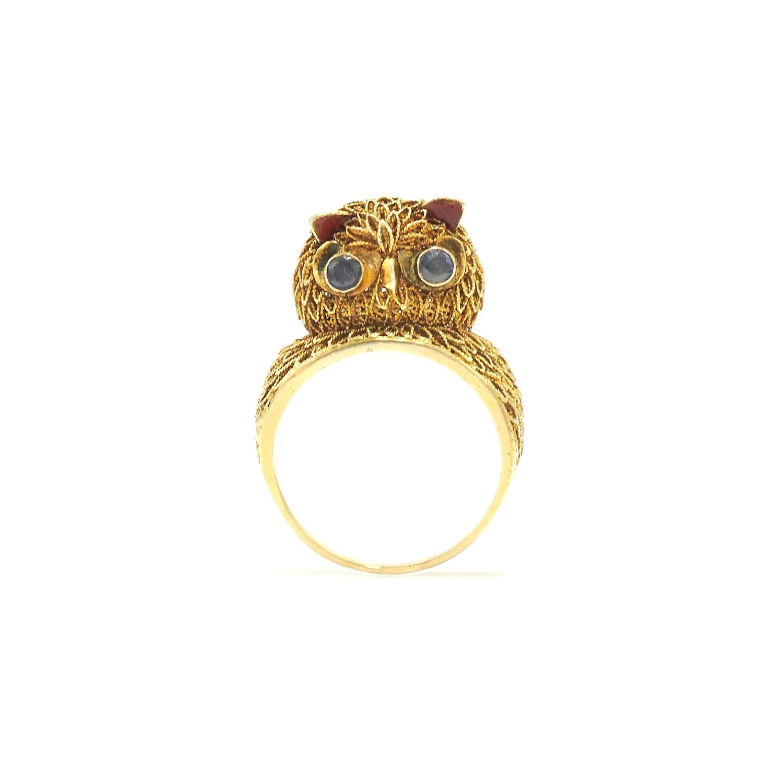 Retro 14K Yellow Gold Wirework Owl Ring Style R-26262-FL-0-0