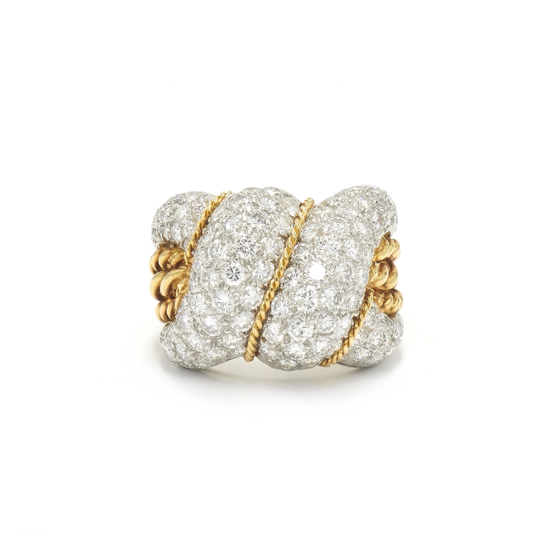 Diamond and Gold Swirl Ring Style R-27035-FL-0-0