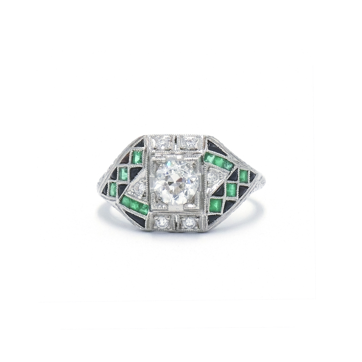 Art Deco Diamond, Emerald and Onyx Ring Style R-27155-FL-0-0