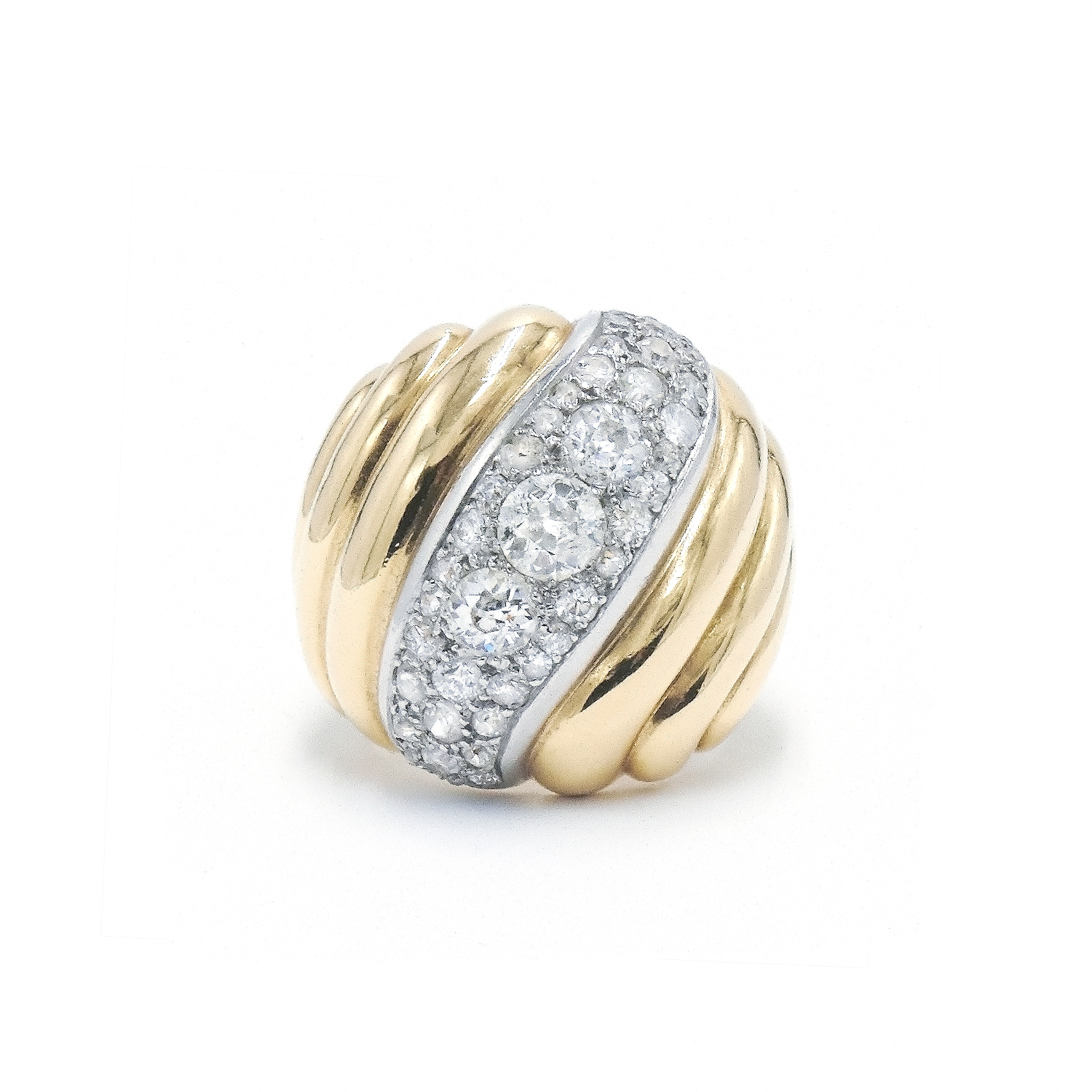 Yellow Gold Bombé Diamond Torsade Ring by Suzanne Belperron Style R-27375-FL-0-0