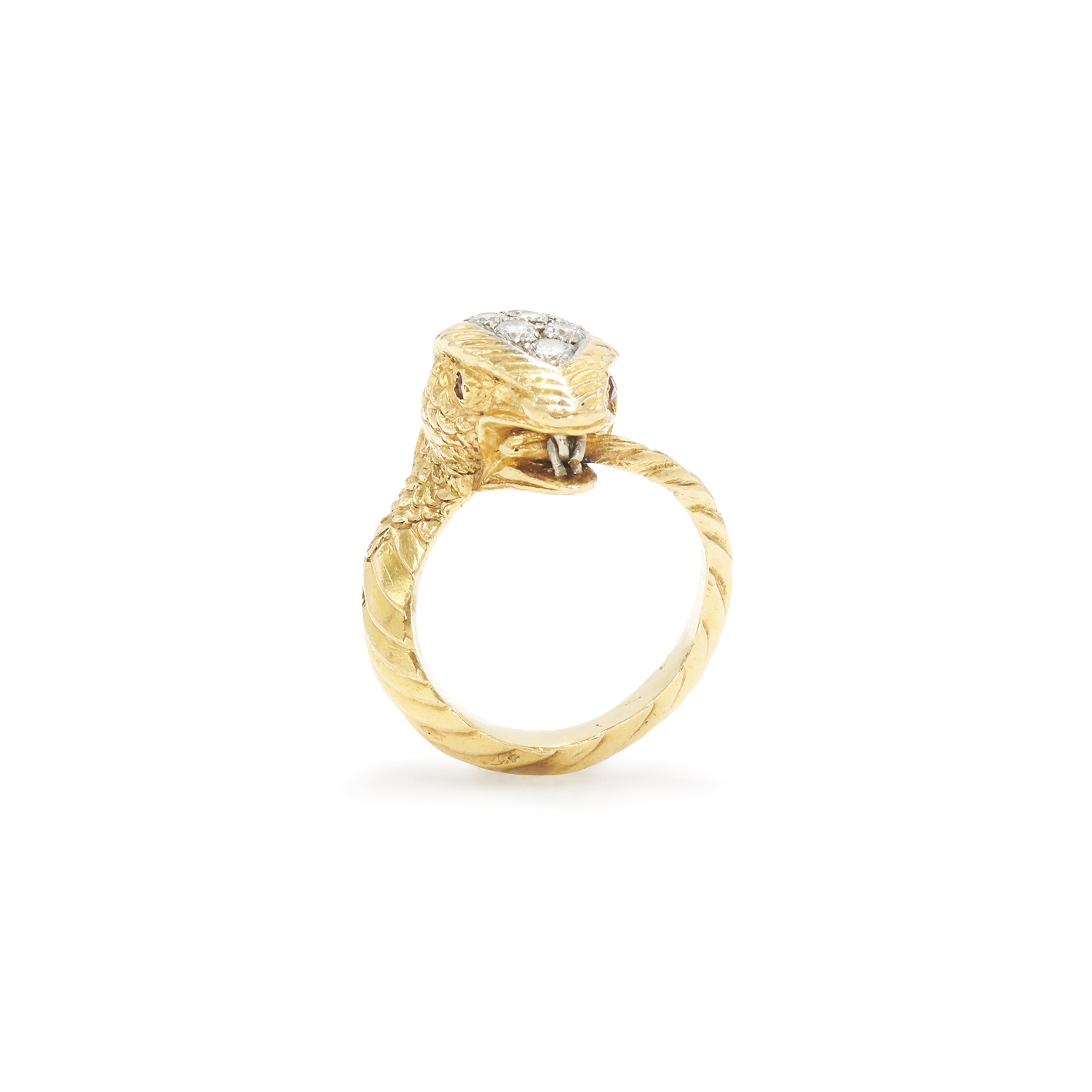 1970s Yellow Gold and Diamond Snake Ring Style R-29289-FL-0-0