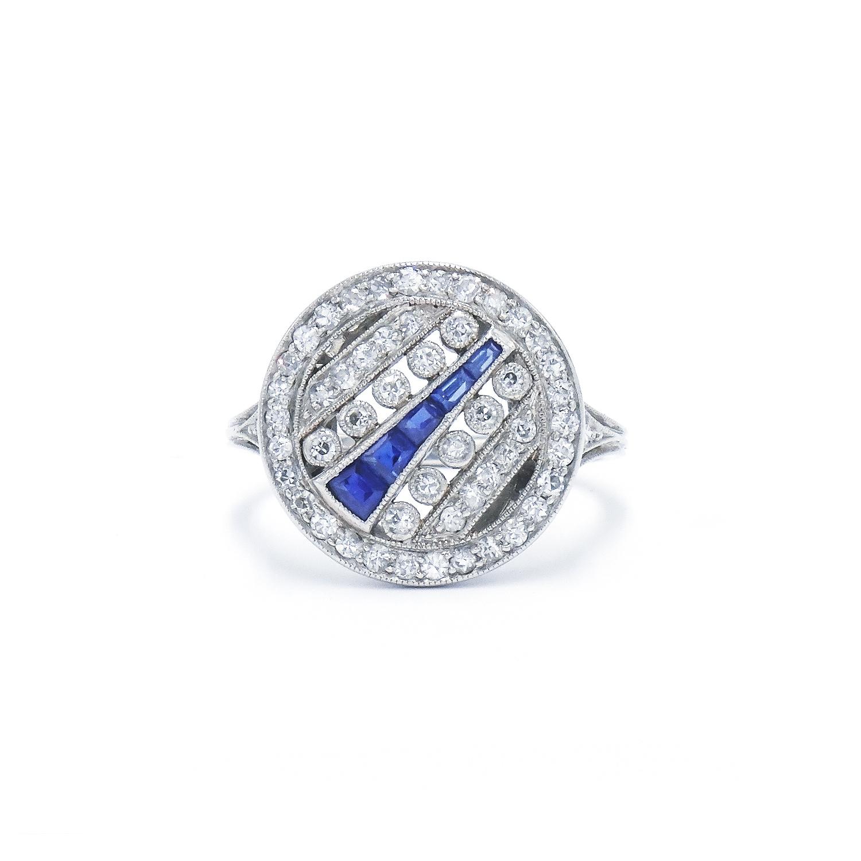 Art Deco Sapphire and Diamond Railroad Ring Style R-29304-FL-0-0