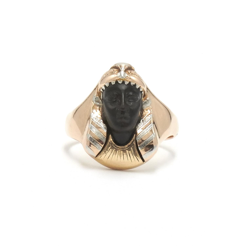 Egyptian Revival Carved Onyx Pharaoh Ring R-31629-FL-0-0