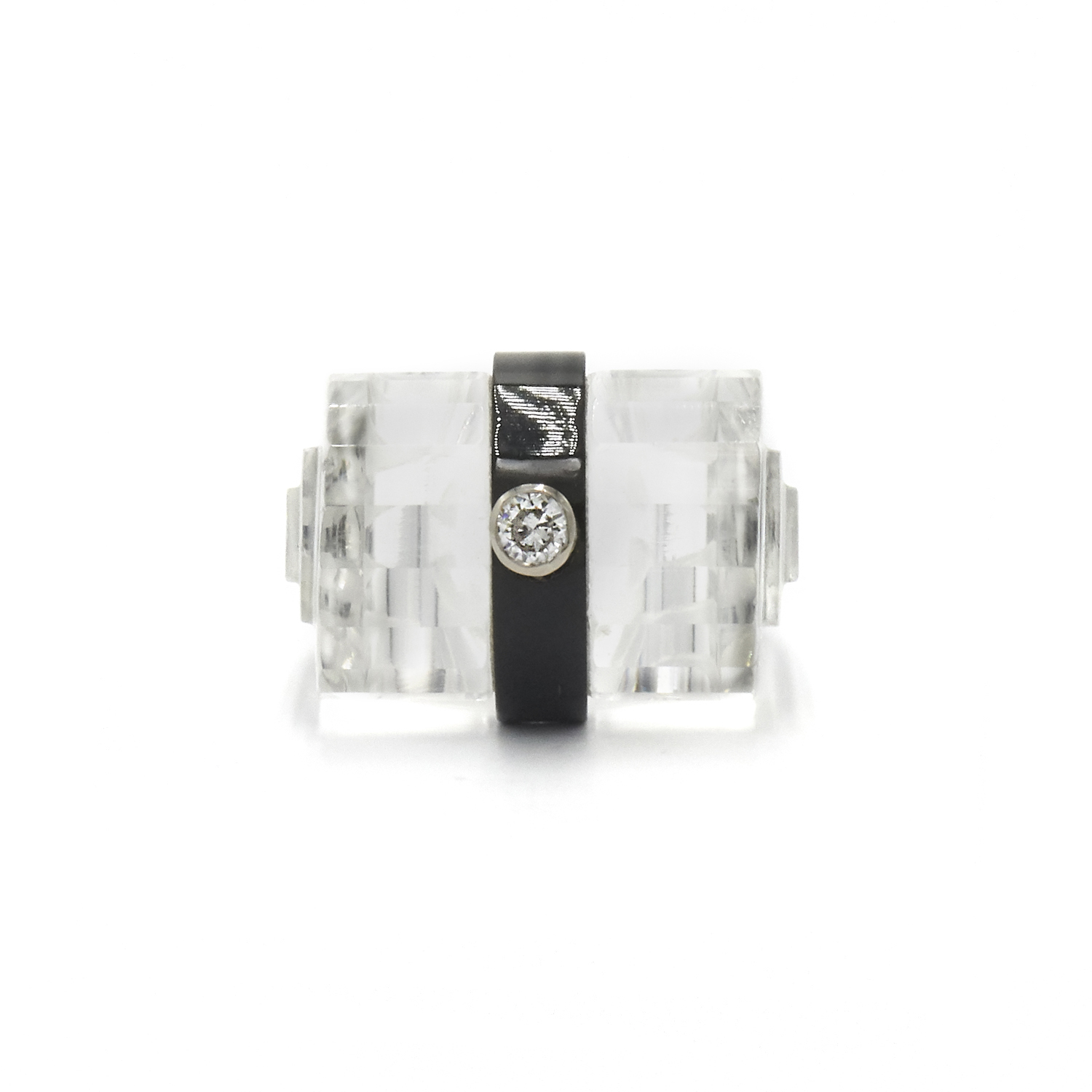 Art Deco Carved Rock Crystal, Onyx and Diamond Ring Style R-32498-FL-0-0