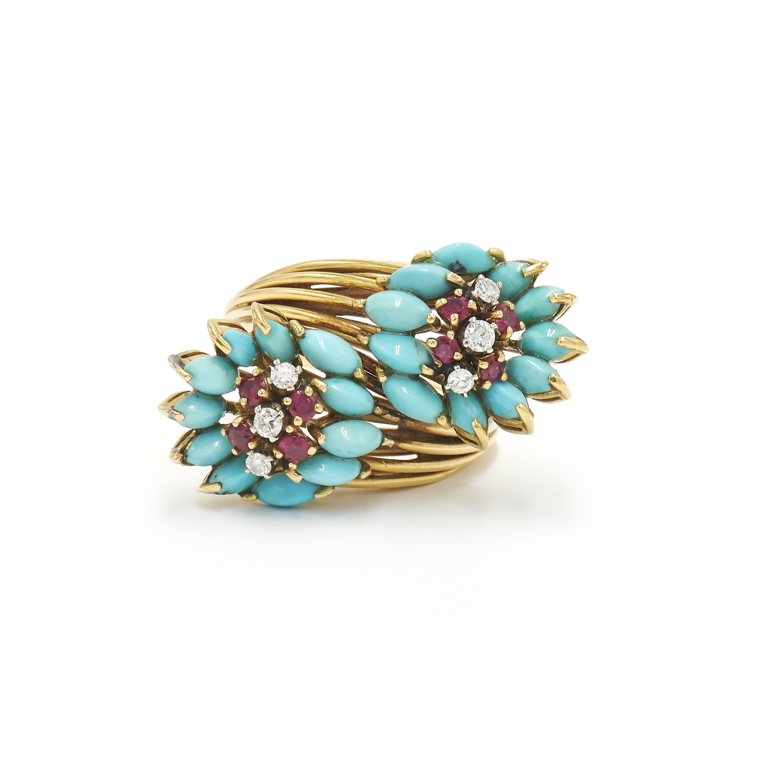 Turquoise, Ruby and Diamond Bypass Ring Style R-35159-FL-0-0