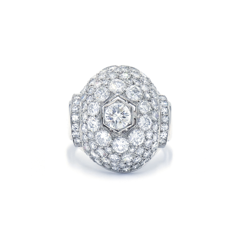 Art Deco Diamond Bombé Cocktail Ring by René Boivin Style R-35447-FL-0-0