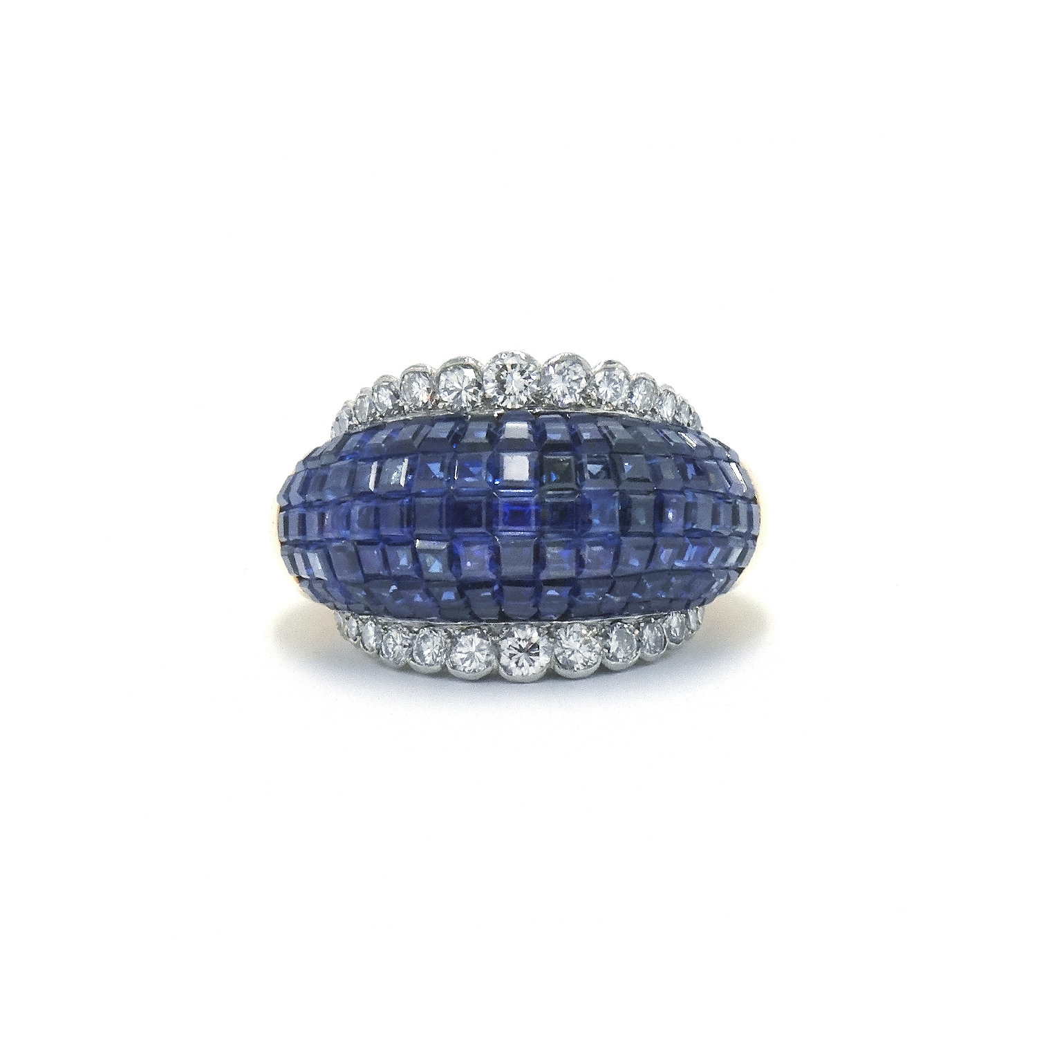 1950s Invisibly Set Sapphire and Diamond Ring by Van Cleef & Arpels Style R-36157-FL-0-0