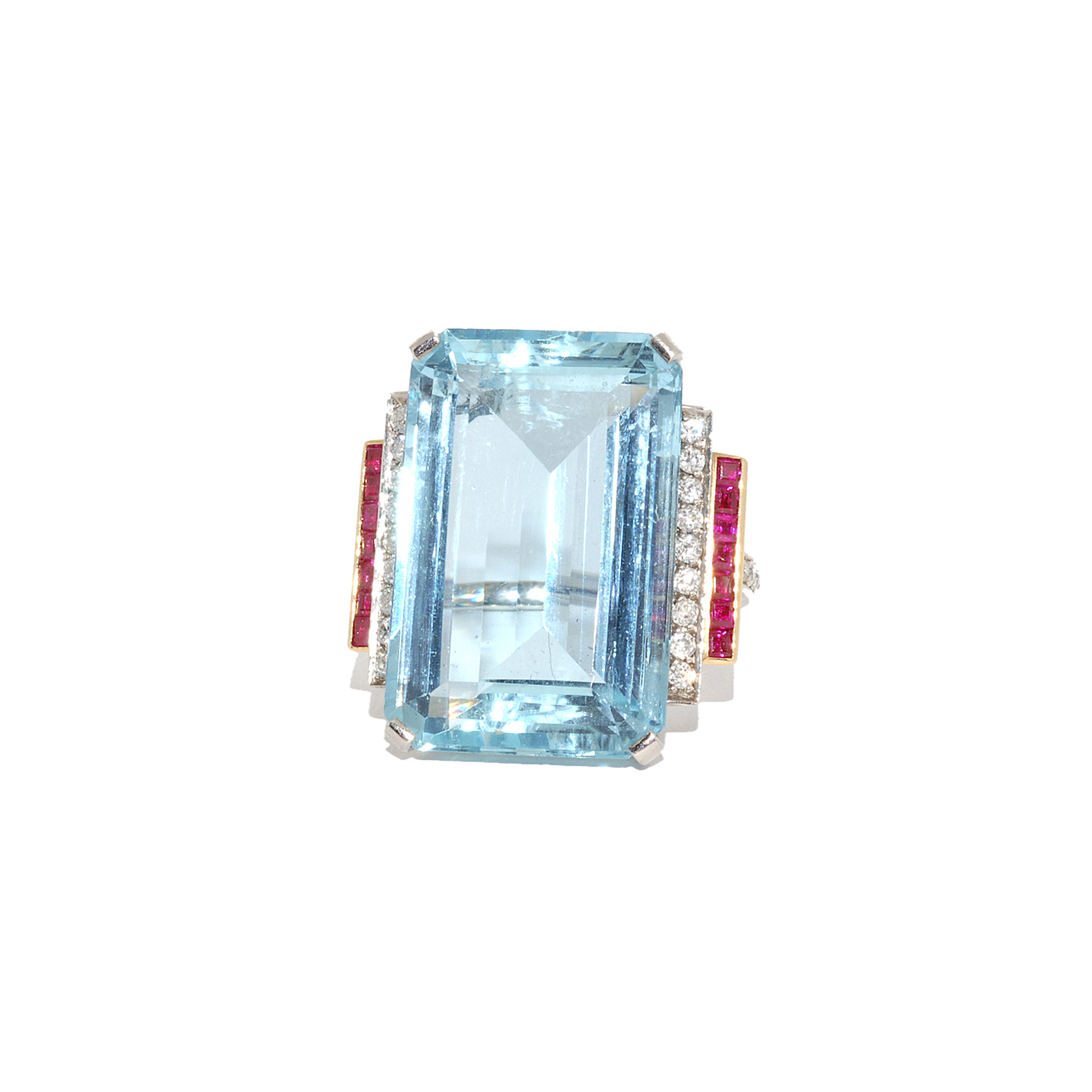 Retro Aquamarine, Ruby and Diamond Cocktail Ring Style R-36169-FL-0-0