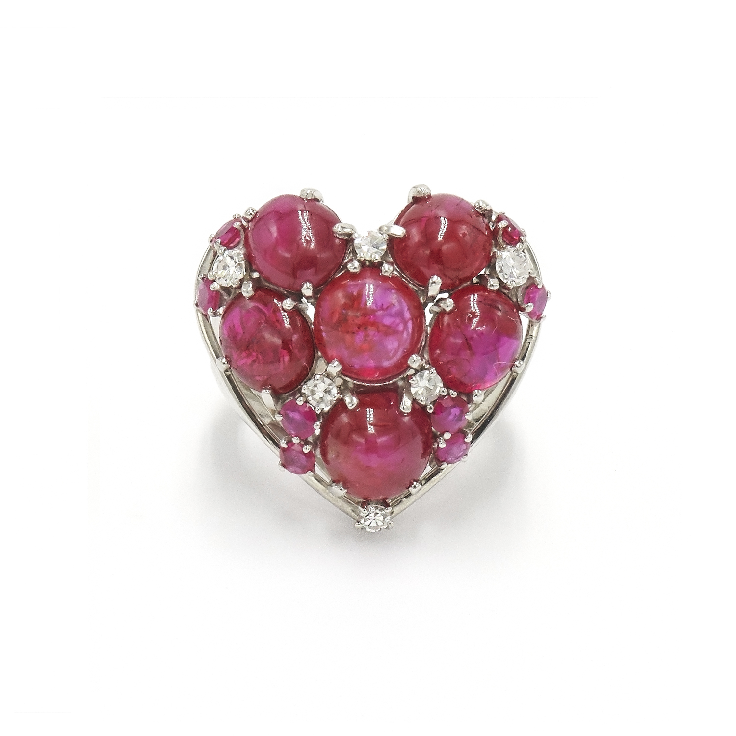 Cabochon Ruby and Diamond Heart Ring Style R-36604-FL-0-0