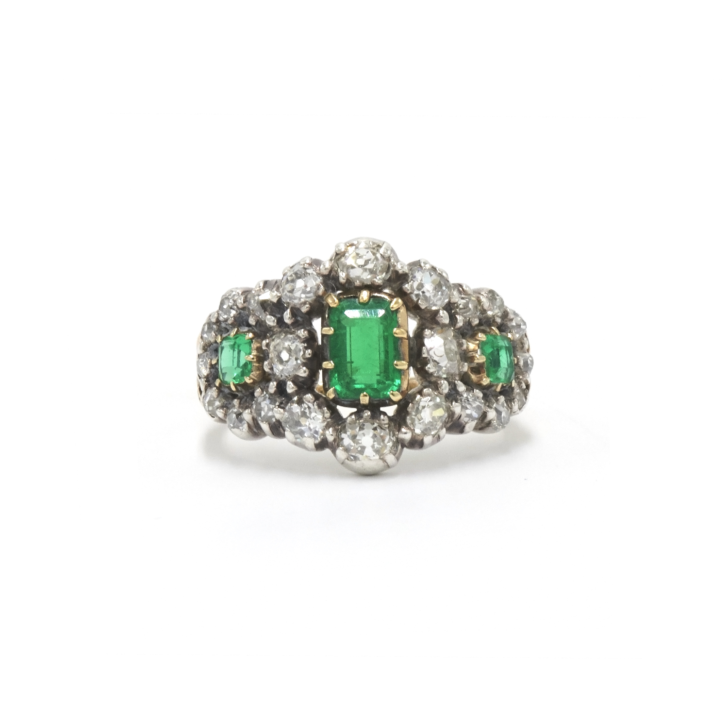Antique Emerald and Diamond Ring Style R-36782-FL-0-0