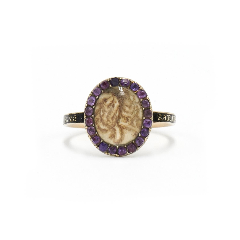 Georgian Amethyst Mourning Ring Style R-37257-FL-0-0