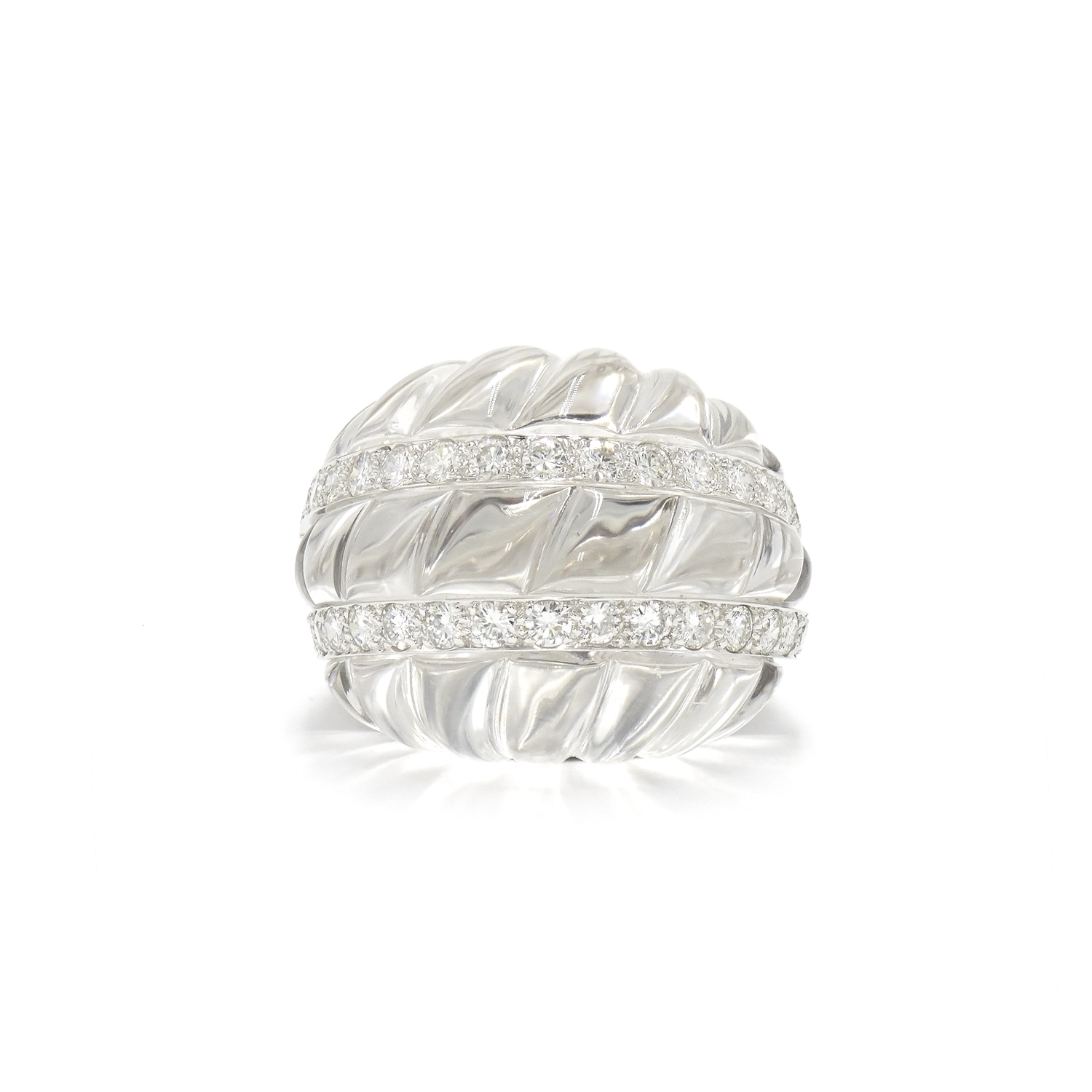 Carved Rock Crystal and Diamond Ring by David Webb Style R-37356-FL-0-0