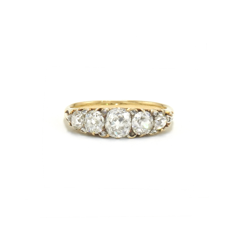 Antique Old Mine Diamond Five Stone Ring Style R-37554-FL-0-0