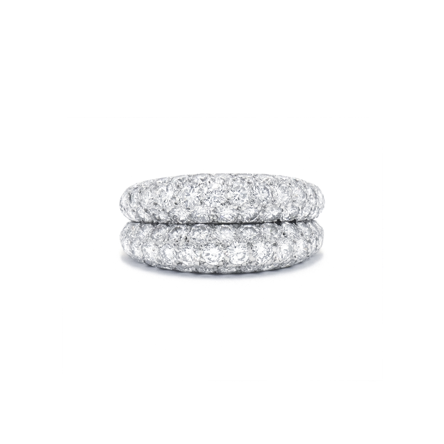 Pavé Diamond Double Band Ring by Cartier Style R-38065-FL-0-0
