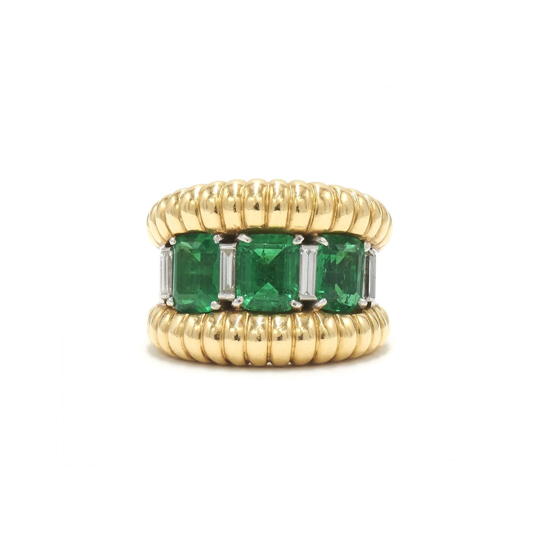 Retro Yellow Gold, Emerald and Diamond Ring by Boucheron Style R-38066-FL-0-0