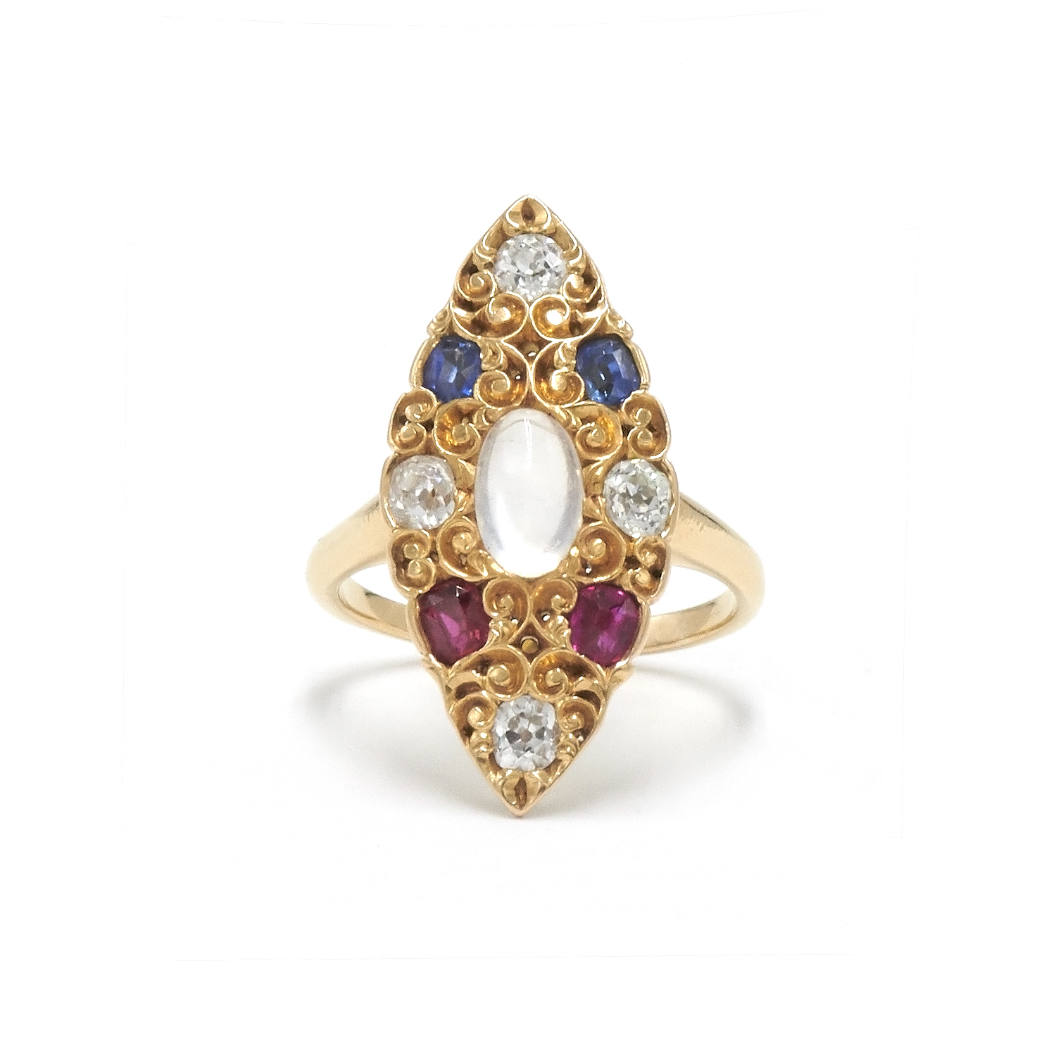 Antique Moonstone, Ruby, Sapphire and Diamond Navette Cluster Ring Style R-38498-FL-0-0