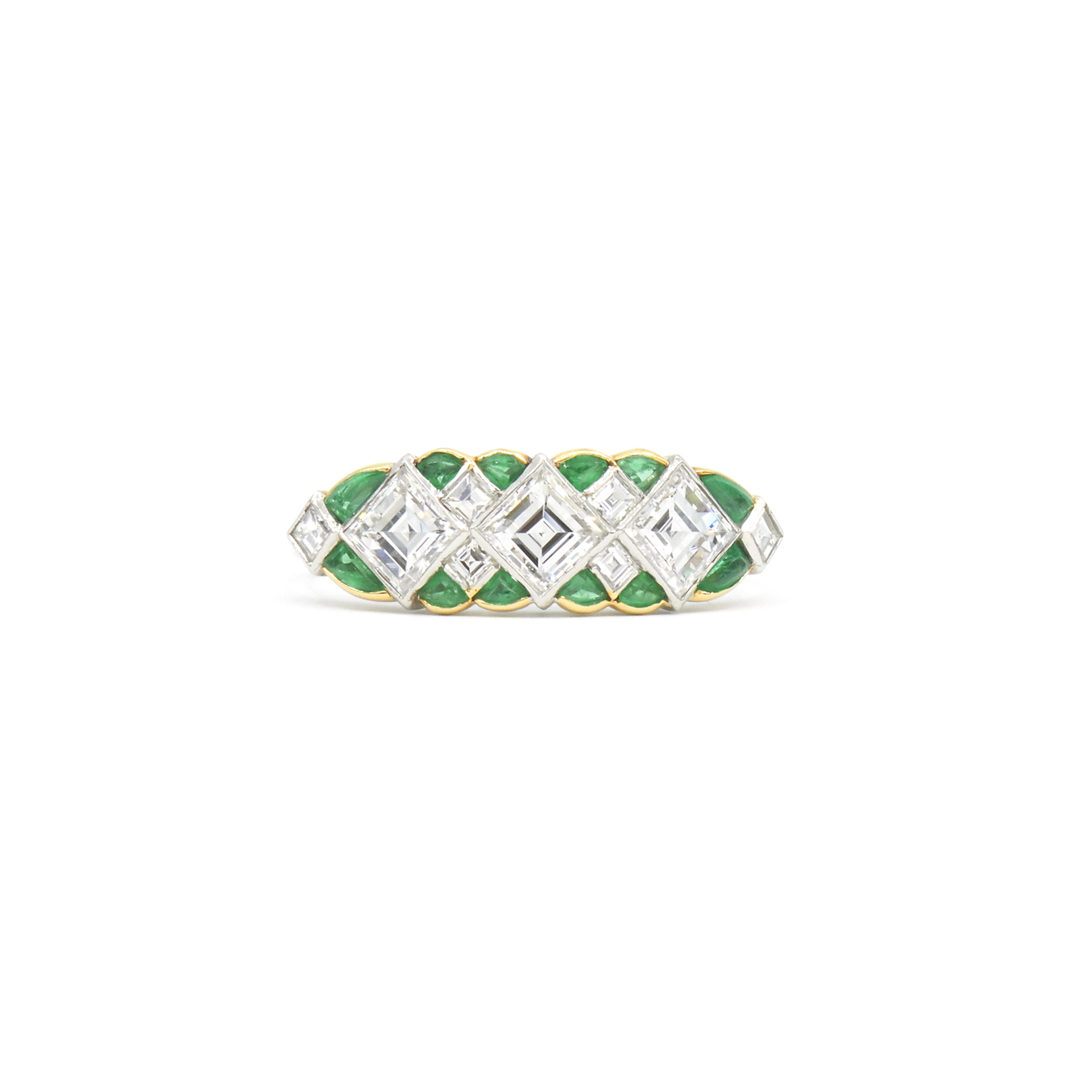 Carré Diamond and Emerald Ring Style R-38964-FL-0-0