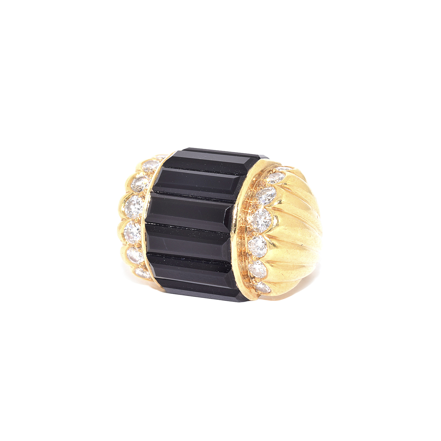 18K Yellow Gold Onyx Baguette and Diamond Ring by Cartier Style R-38996-FL-0-0