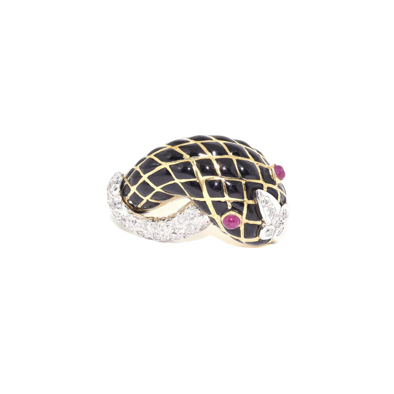 18K Yellow Gold Black Enamel Jeweled Snake Ring by David Webb, Serial FL39276