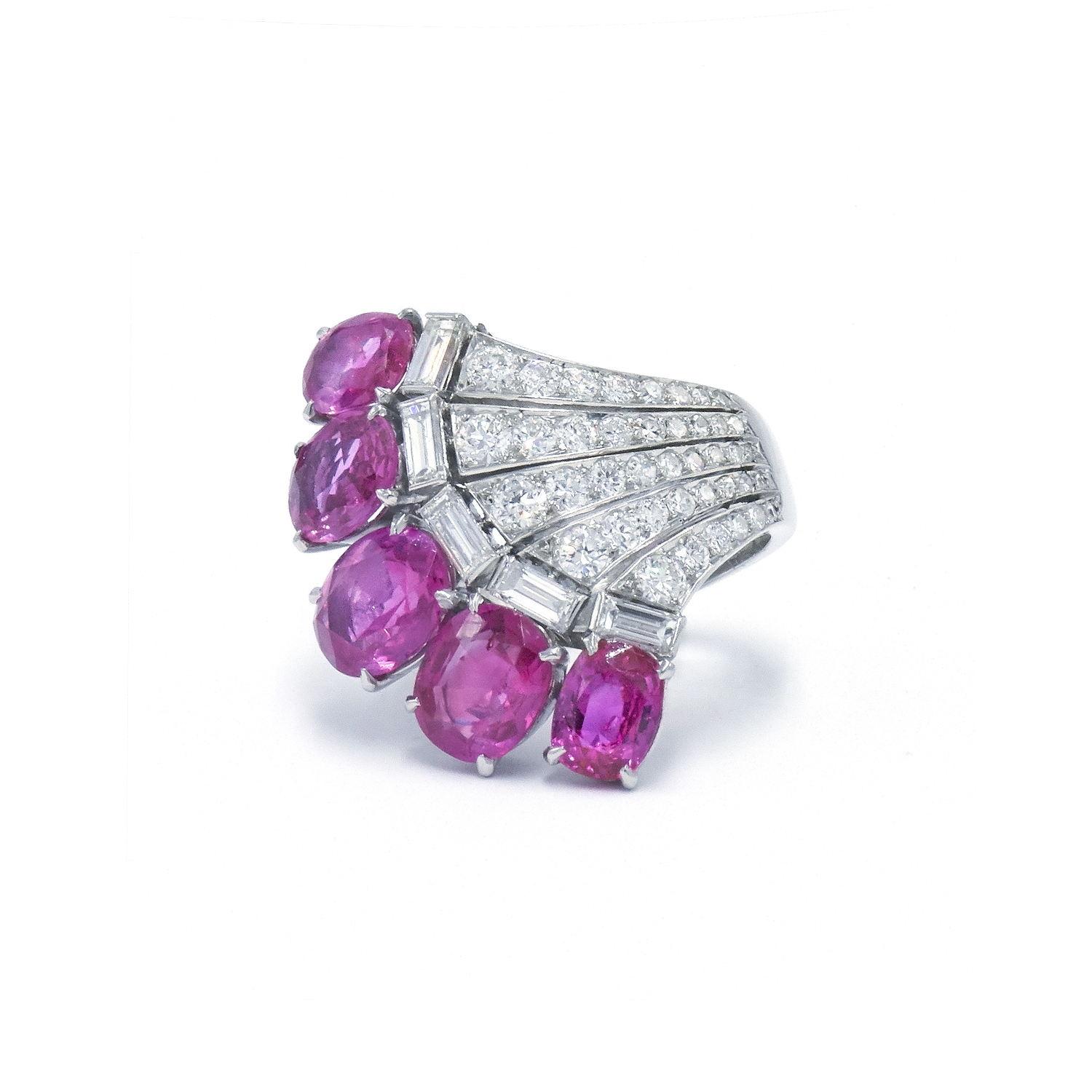 1930s Pink Sapphire and Diamond Fan Ring Style R-39278-FL-0-0