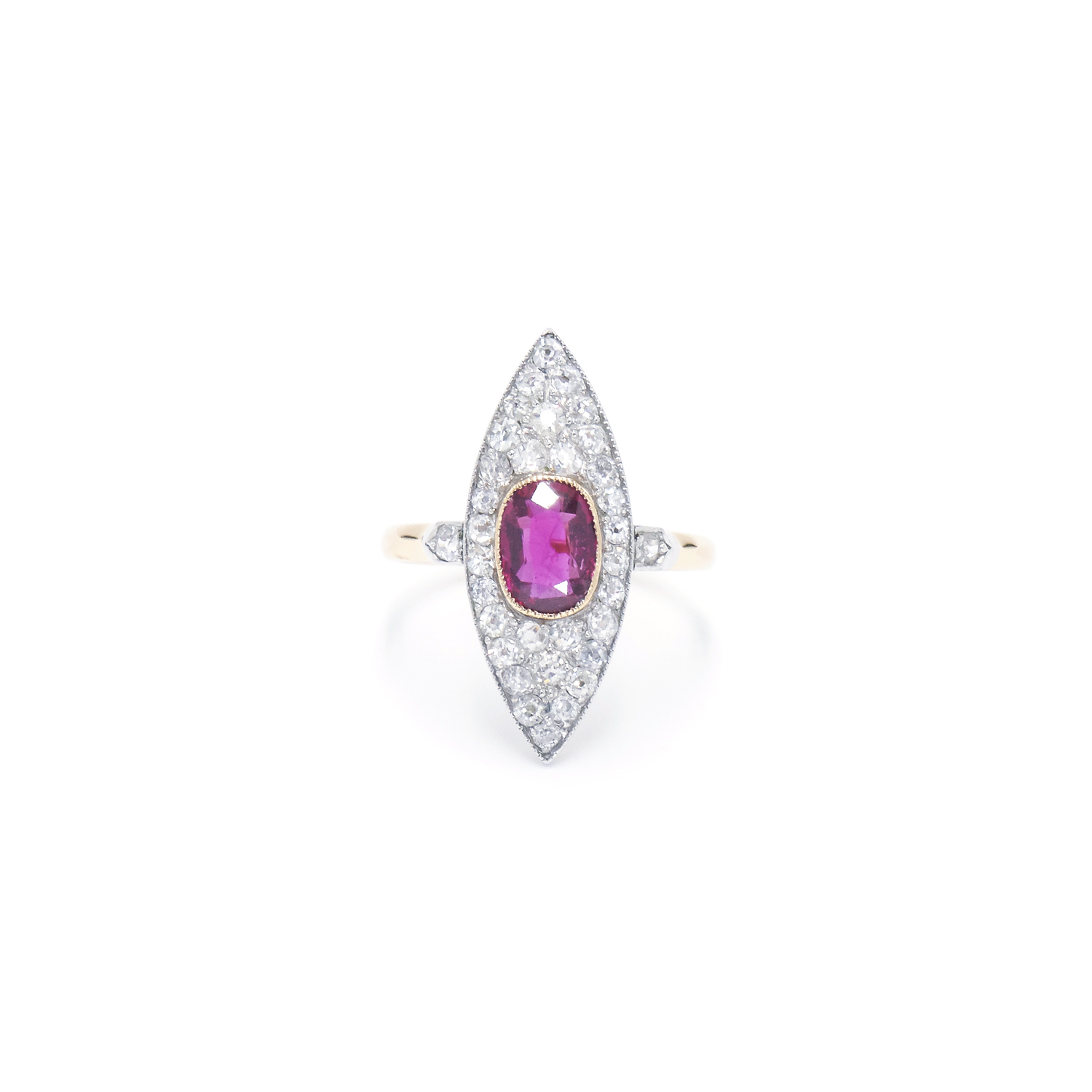 Edwardian Ruby and Diamond Navette Ring Style R-40100-FL-0-0