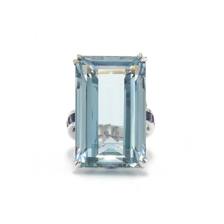 Emerald Cut Aquamarine, Sapphire and Diamond Cocktail Ring Style R-40188-FL-0-0