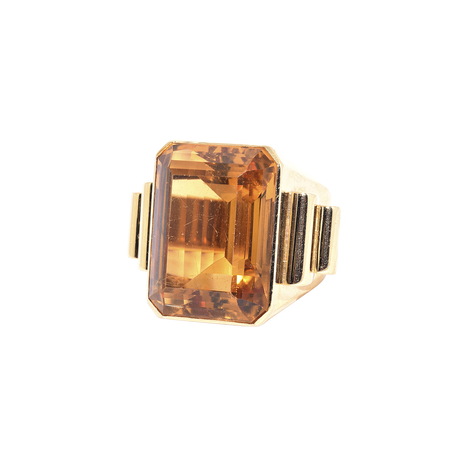 Retro 18K Yellow Gold Citrine Cocktail Ring Style R-40240-FL-0-0