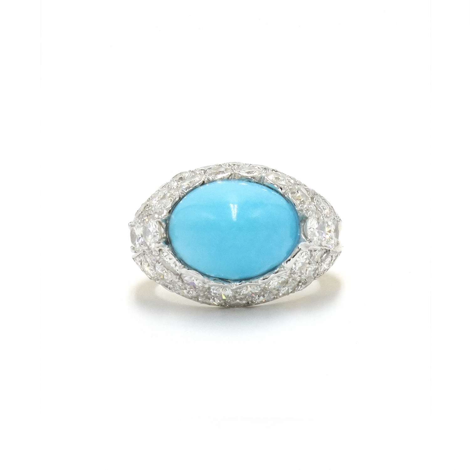 1960s Turquoise and Diamond Ring by Cartier Style R-40241-FL-0-0