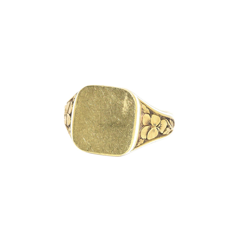 Antique 18K Yellow Gold Pansy Motif Signet Ring Style R-40365-FL-0-0