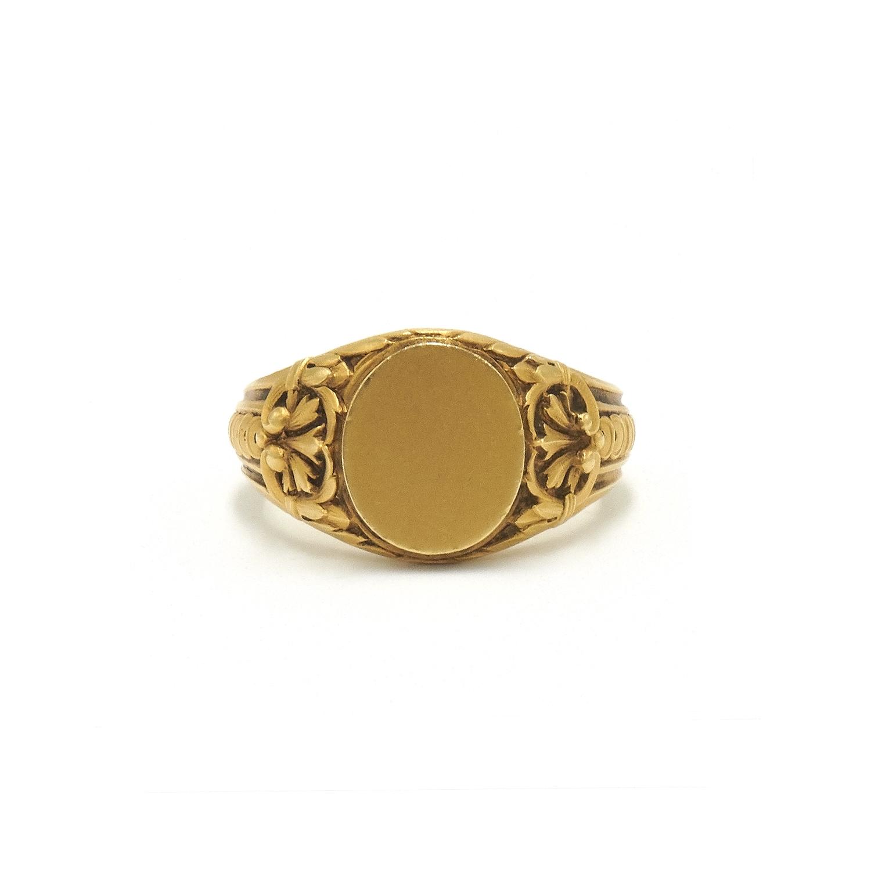 Antique 18K Yellow Gold Acanthus Motif Signet Ring Style R-40373-FL-0-0