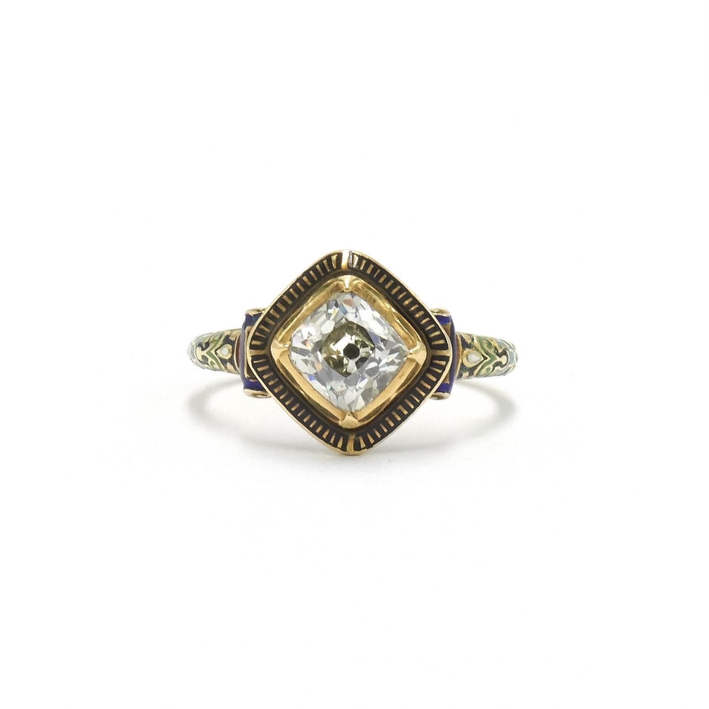 Renaissance Revival Old Mine Diamond and Enamel Ring Style R-40426-FL-0-0