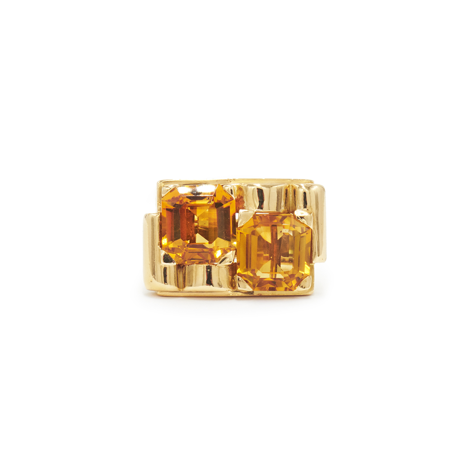 Retro Yellow Gold and Citrine Ring Style R-40572-FL-0-0