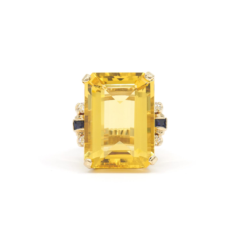 Retro Citrine, Sapphire and Diamond Cocktail Ring Style R-40721-FL-0-0