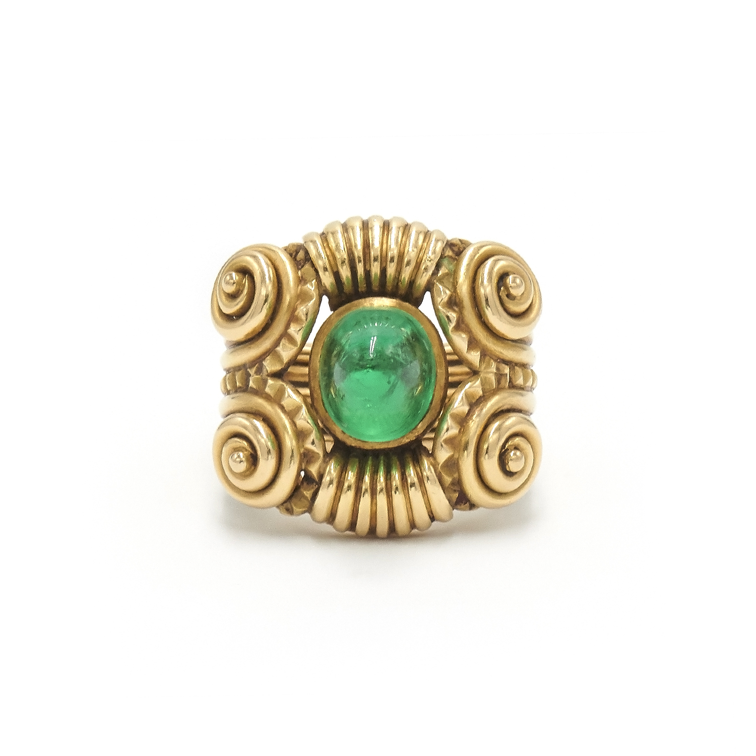 18K Yellow Gold Cabochon Emerald Ring by Rene Boivin Style R-40940-FL-0-0