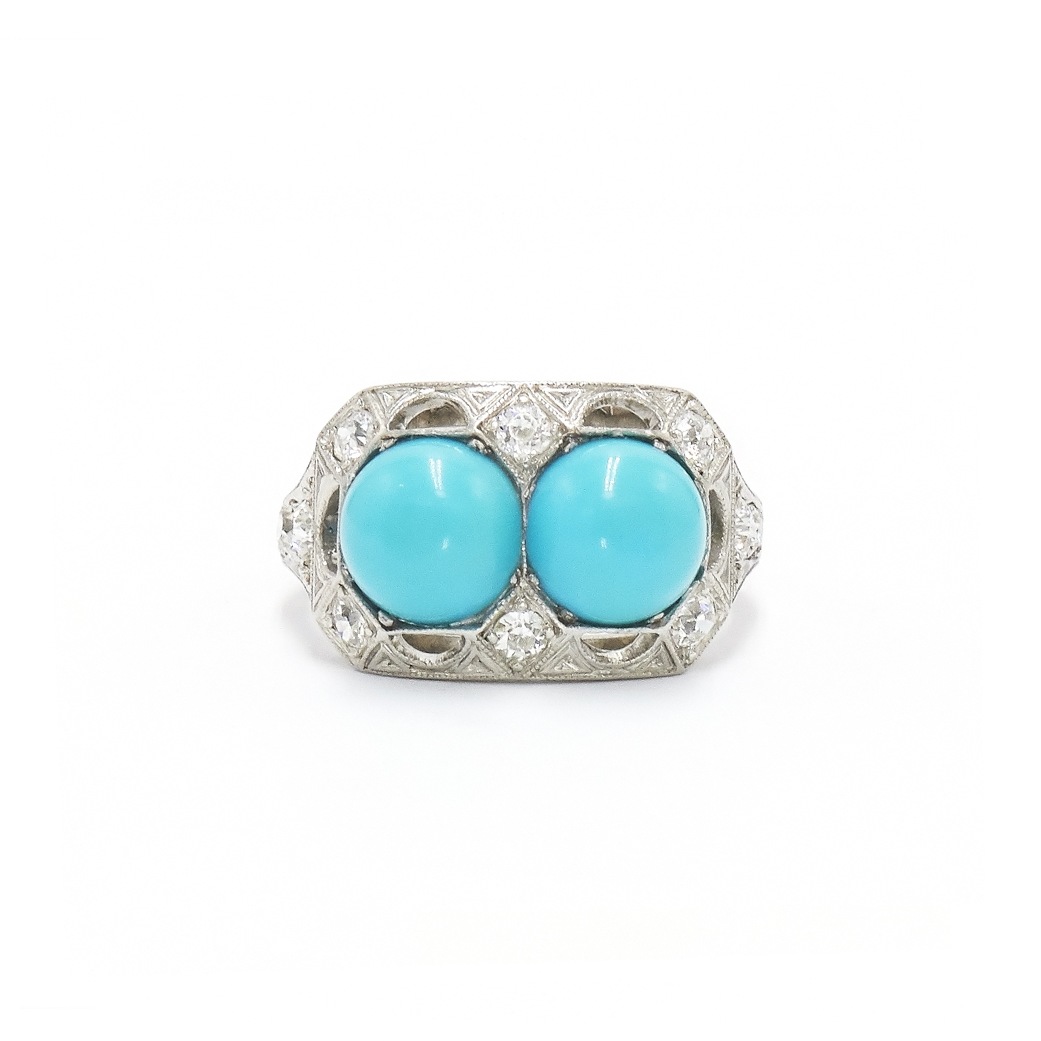 Platinum Turquoise and Diamond Ring Style R-41011-FL-0-0