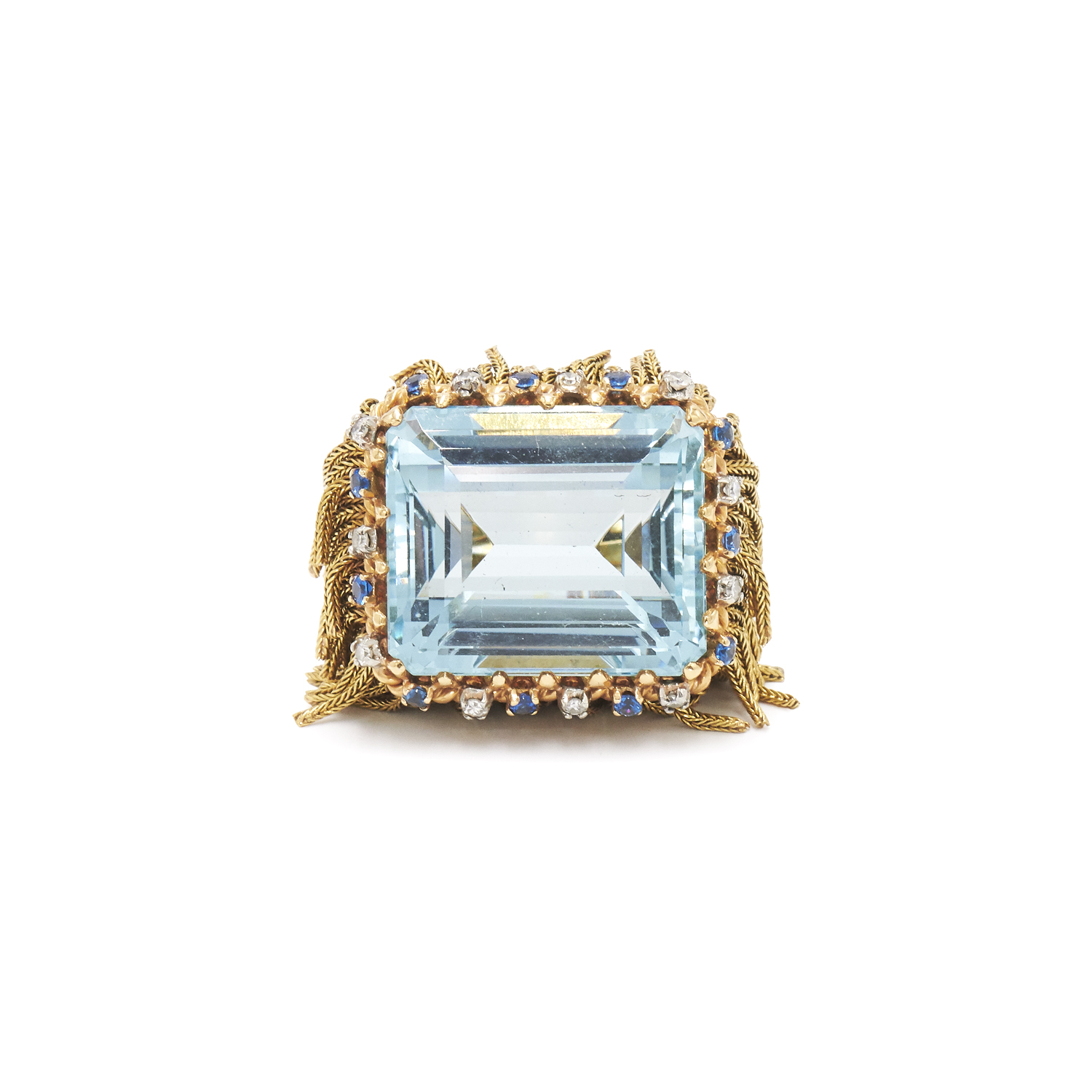 1950s 18K Yellow Gold Aquamarine Fringe Ring Style R-41117-FL-0-0