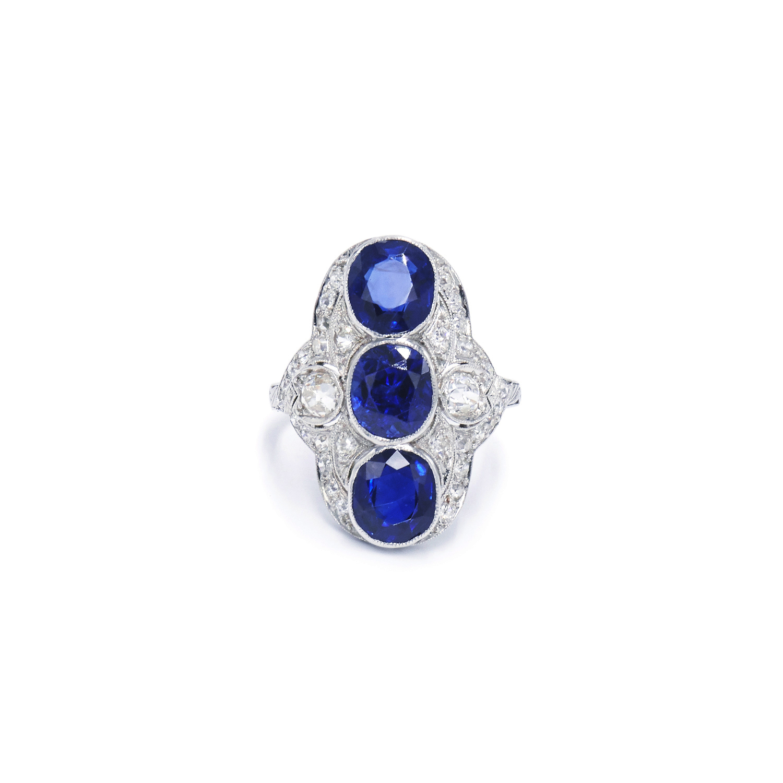 Edwardian Sapphire and Diamond Three Stone Ring Style R-41398-FL-0-0