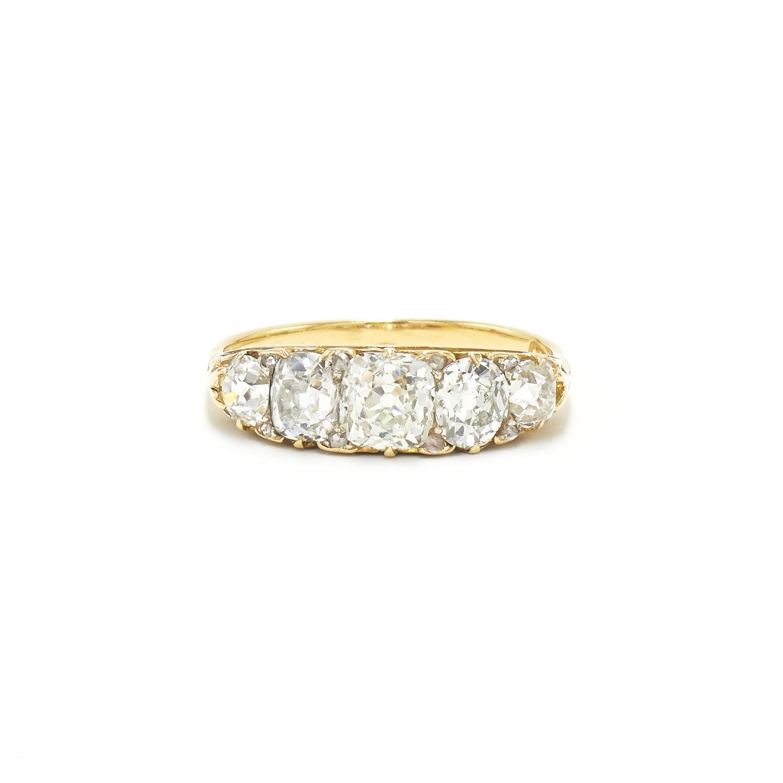 Antique Old Mine Diamond Five Stone Ring Style R-41566-FL-0-0