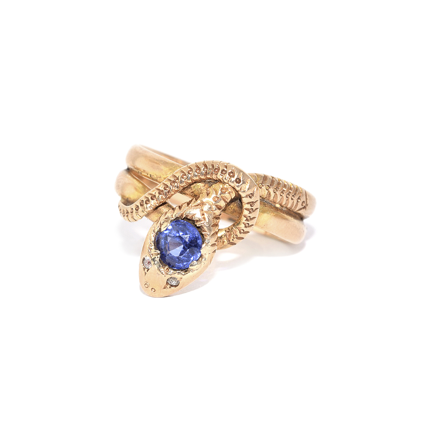 Antique 14K Yellow Gold Sapphire Snake Ring Style R-41576-FL-0-0
