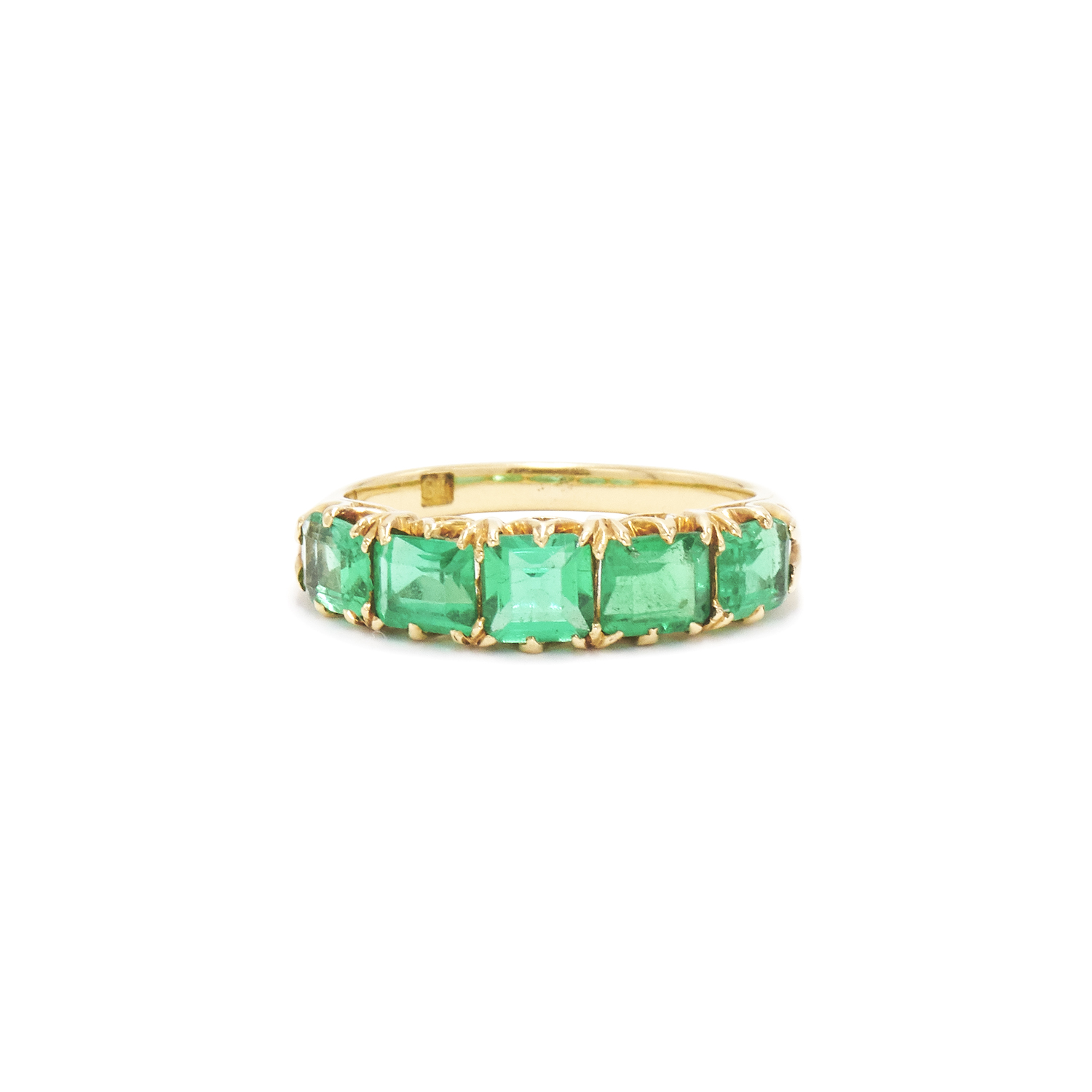 Antique 18K Yellow Gold Emerald 5 Stone Ring Style R-41585-FL-0-0