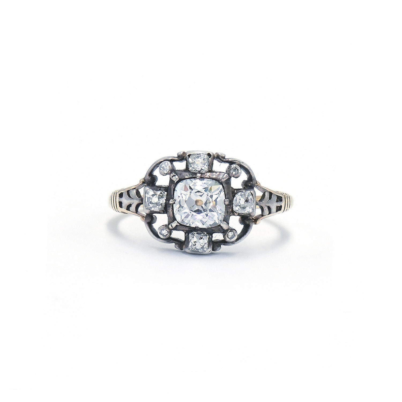 Georgian Old Mine Diamond Cluster Ring Style R-41645-FL-0-0