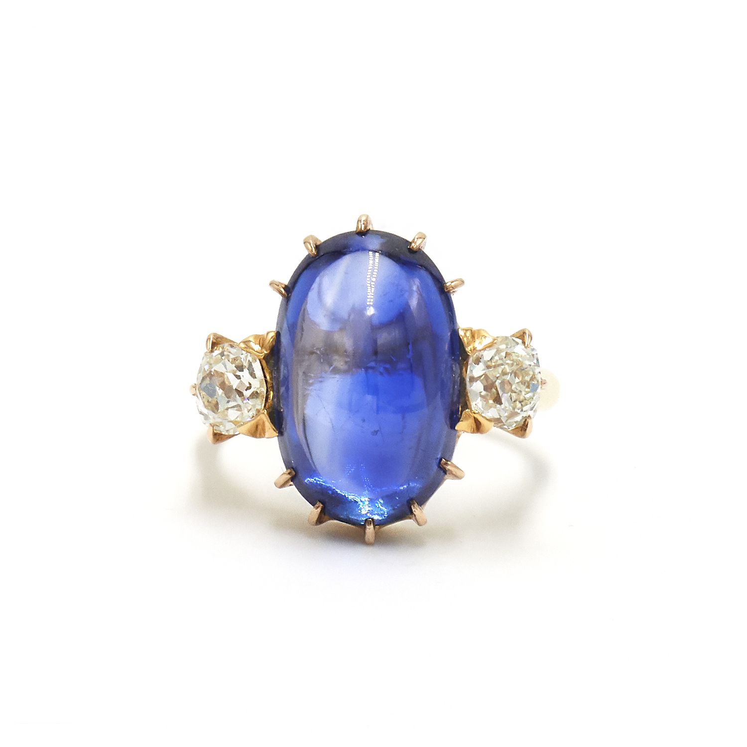 Antique Cabochon Ceylon Sapphire and Diamond Ring by Tiffany & Co Style R-41650-FL-0-0