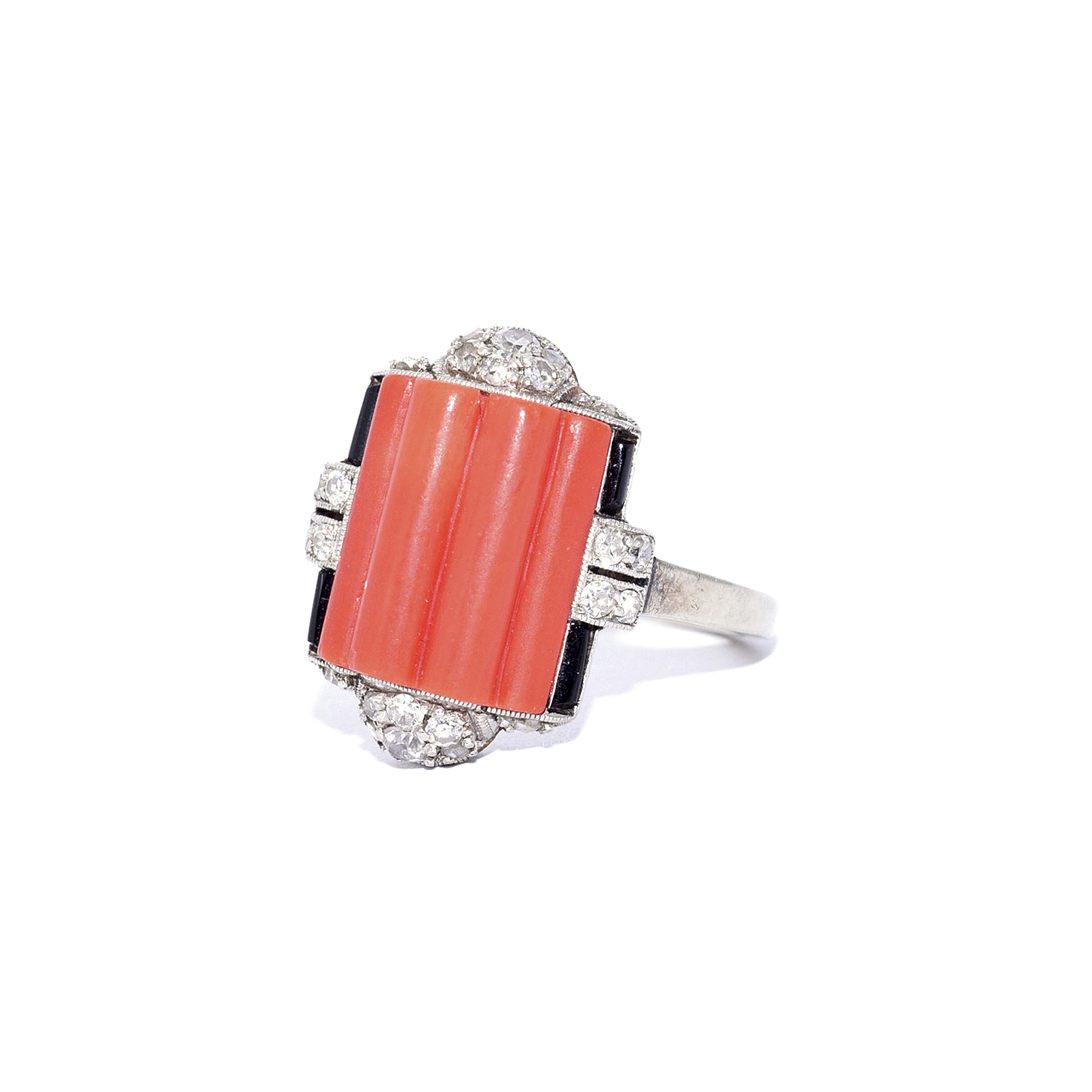 Art Deco Fluted Coral, Onyx and Diamond Ring Style R-41651-FL-0-0