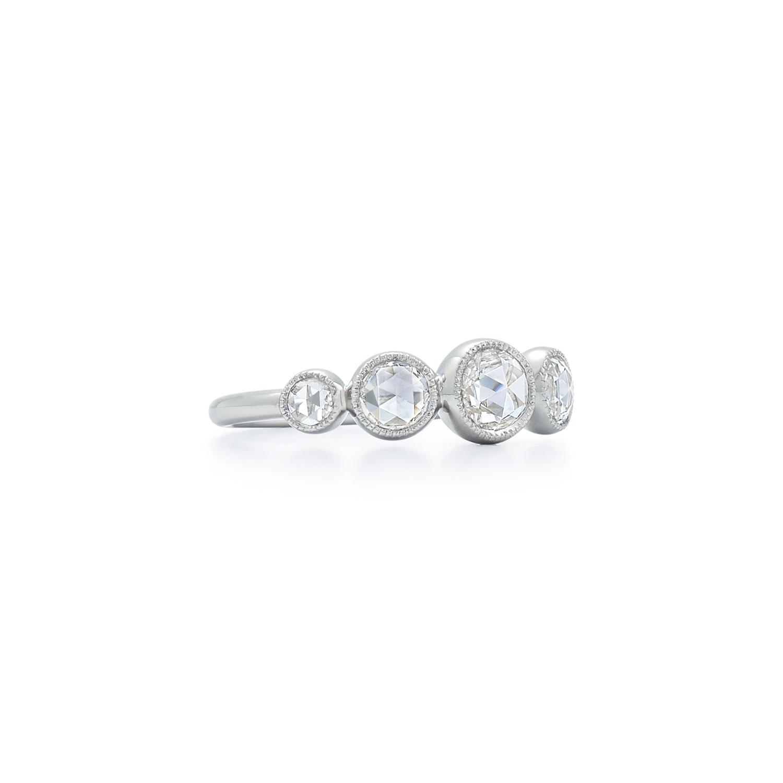 Signed Fred Leighton Graduated Rose Cut Diamond Ring R1002-DIA