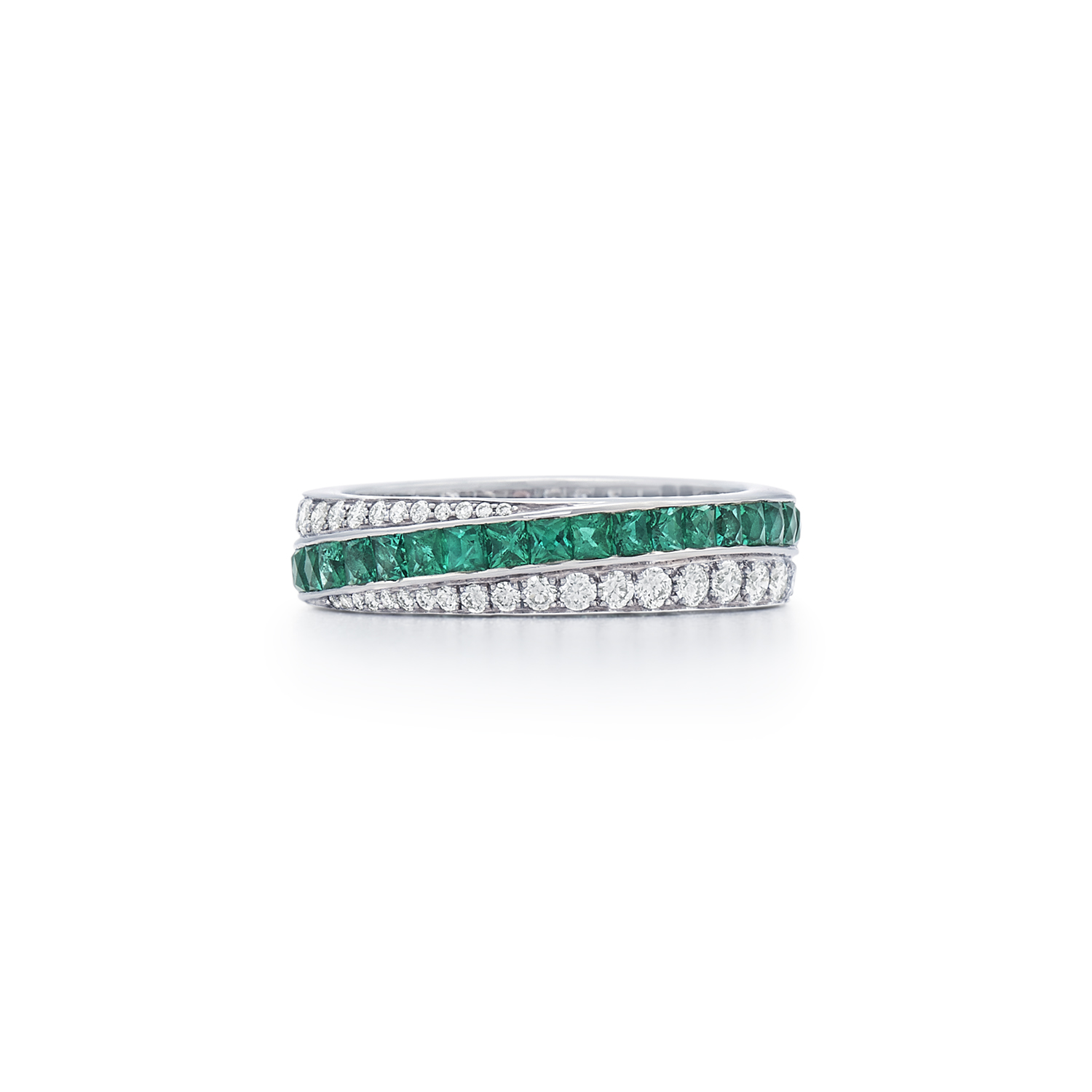 Signed Fred Leighton Diamond and Emerald Stripe Eternity Band Ring R1005-DIAEMER