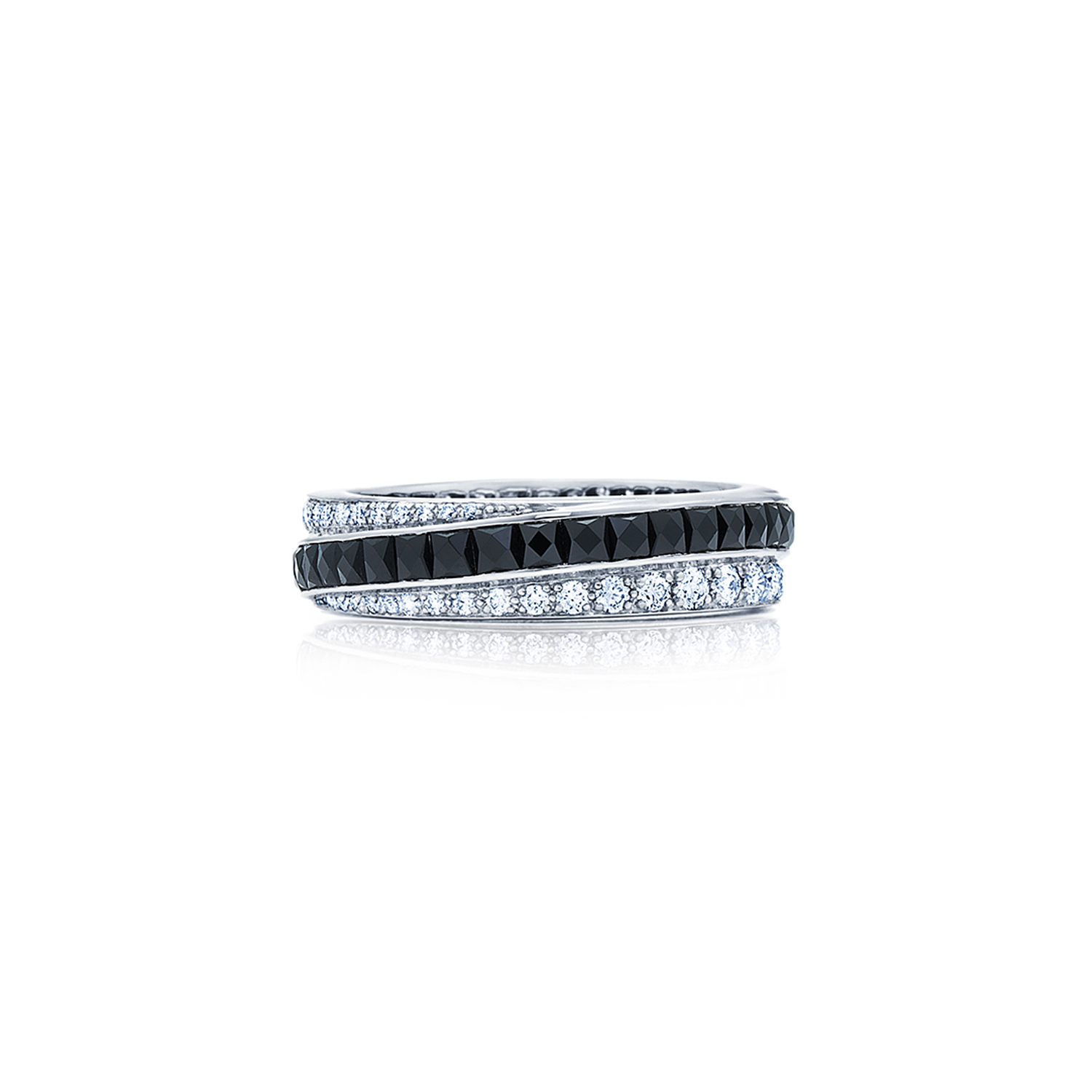 Signed Fred Leighton Diamond and Onyx Stripe Eternity Band Ring R1005-DIAONYX