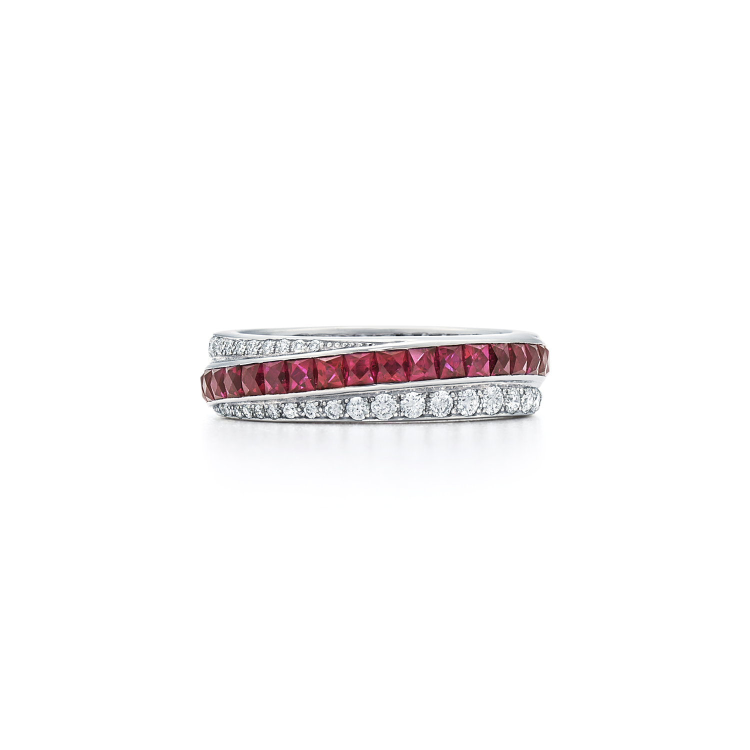 Signed Fred Leighton Diamond and Ruby Stripe Eternity Band Ring R1005-DIARUB