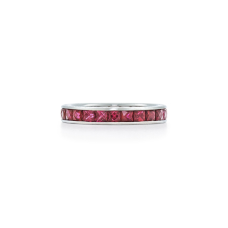 Signed Fred Leighton French Cut Ruby Eternity Band Ring R1011-RUB