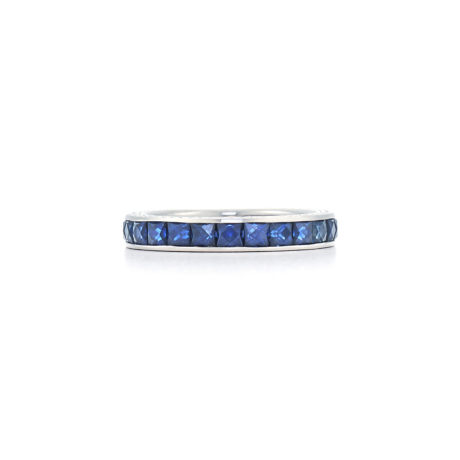 Signed Fred Leighton French Cut Sapphire Eternity Band Ring R1011-SAP